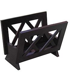 Contemporary Mahogany Solid Wood Magazine Rack