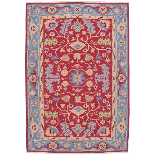 Nourison Samarkand Flatweave Reversible Red Wool Rug (8'6 x 11'6)