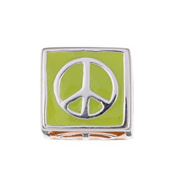 Sterling Essentials Sterling Silver Multi-colored Enamel Peace Bead