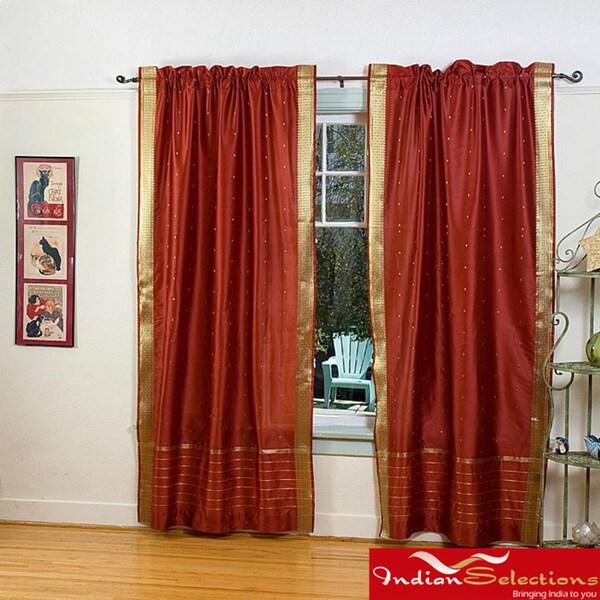 Indo Rust Rod Pocket Sari Sheer Curtain (43 in. x 84 in.)