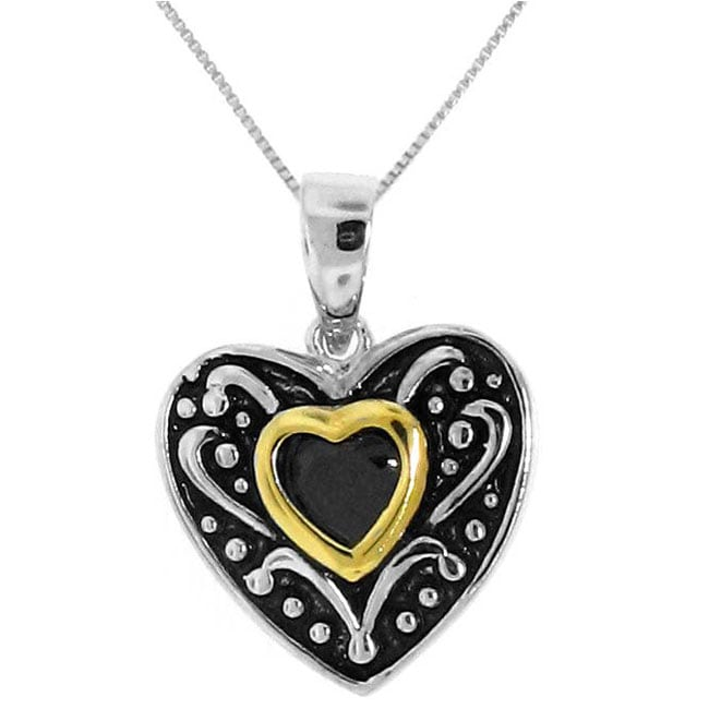 Goldplated Sterling Silver Black Cubic Zirconia Heart Necklace