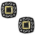 Sterling Silver Two-tone Black Cubic Zirconia Square Earrings