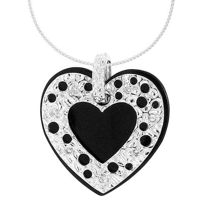 Sterling Silver Black Onyx and White Cubic Zirconia Necklace