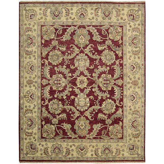 Nourison Hand-knotted Tajik Red/ Beige Wool Rug (7'9 x 9'9)