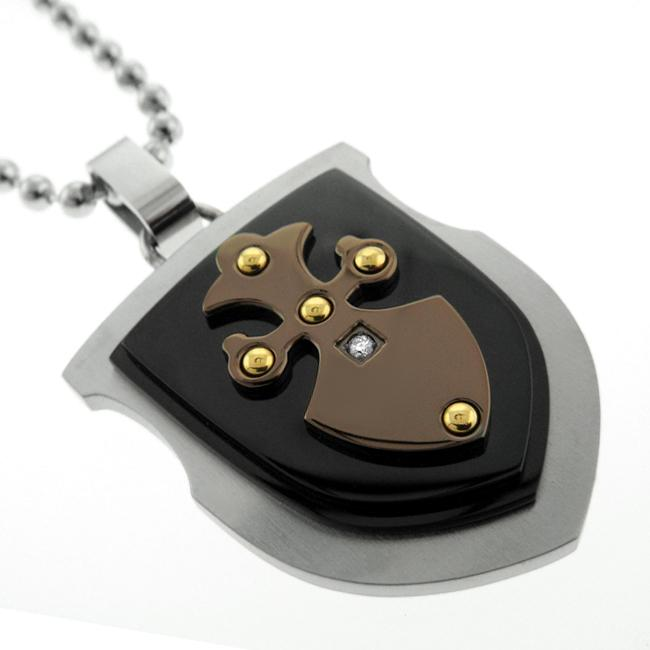 Men's Titaniumplated Steel Diamond Black and Blue Jewelry Shield Necklace