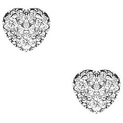 Sterling Silver Cubic Zirconia Pave Heart Stud Earrings