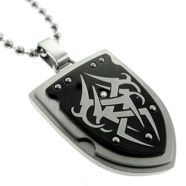 Black and Blue Jewelry Black-plated Steel Diamond Shield Necklace