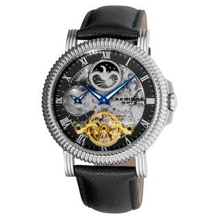 Akribos XXIV Men's Automatic Dual-Time Skeleton Black-Strap Round Watch