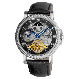 Akribos XXIV Men's Automatic Dual-Time Skeleton Black-Strap Round Watch