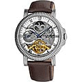 Akribos XXIV Men's Automatic White Dual Time Skeleton Round Strap Watch