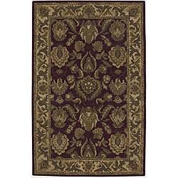 Nourison Hand-tufted Caspian Burgundy Wool Rug (5' x 8)