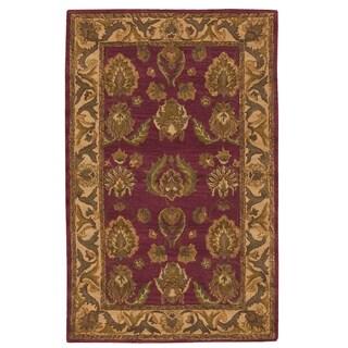Nourison Hand-tufted Caspian Burgundy Wool Rug (3'6 x 5'6)