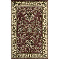 Nourison Hand-tufted Caspian Red Floral Wool Rug (3'6 x 5'6)