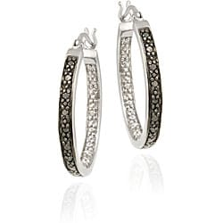 DB Designs Sterling Silver 1/10ct TDW Black Diamond Oval Hoop Earrings (I2-I3)
