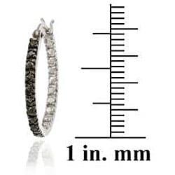 DB Designs Sterling Silver 1/10ct TDW Black Diamond 20-mm Hoop Earrings