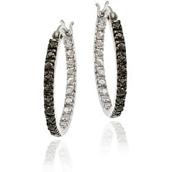 DB Designs Sterling Silver 1/10ct TDW Black Diamond 20-mm Hoop Earrings