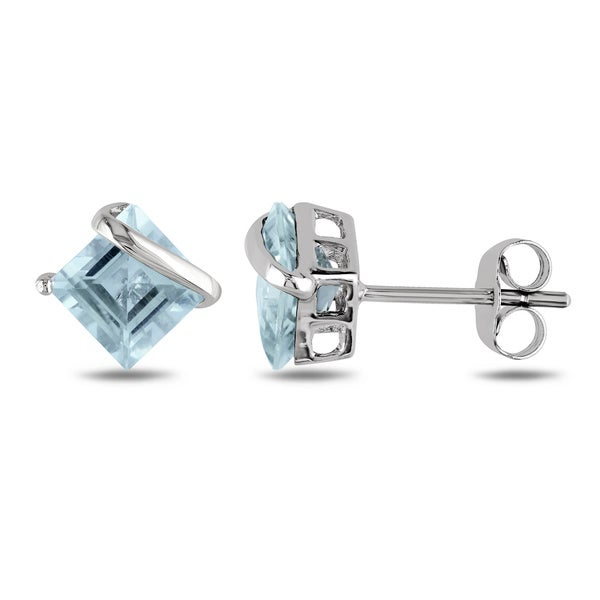 Miadora 10k White Gold Square-cut Aquamarine Earrings