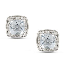 Miadora 10k White Gold Aquamarine and 1/10ct TDW Earrings (H-I, I2-I3)