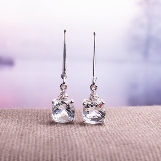 Miadora 10k White Gold Aquamarine and Diamond Accent Earrings