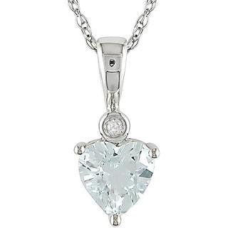 Miadora 10k White Gold Aquamarine and Diamond Accent Necklace (H-I, I2-I3)