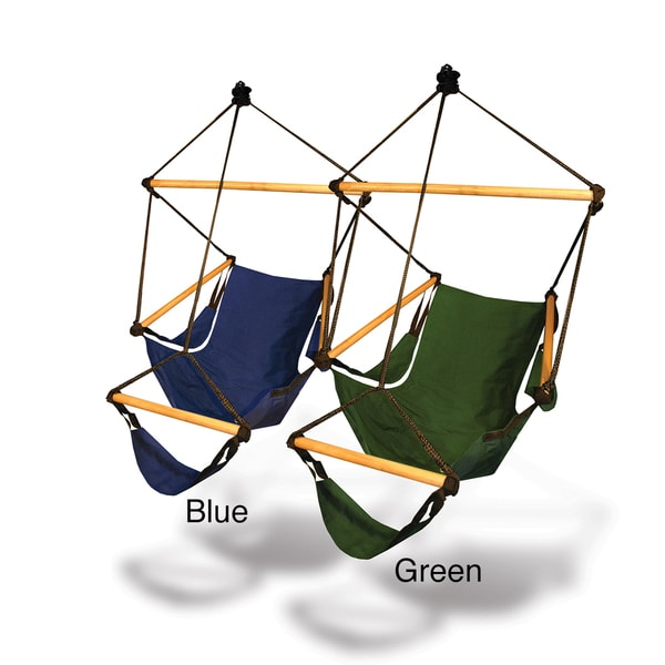 New Solid Wood Blue Green Hammock Chair Swing Hanging Outdoor Indoor Patio Tr
