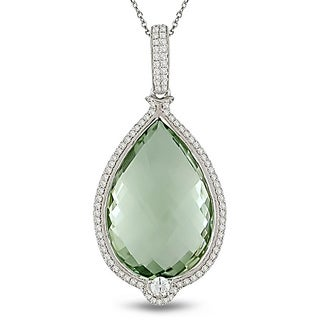 Miadora 14k Gold Green Amethyst and 7/8ct TDW Diamond Necklace (G-H, SI1-SI2)