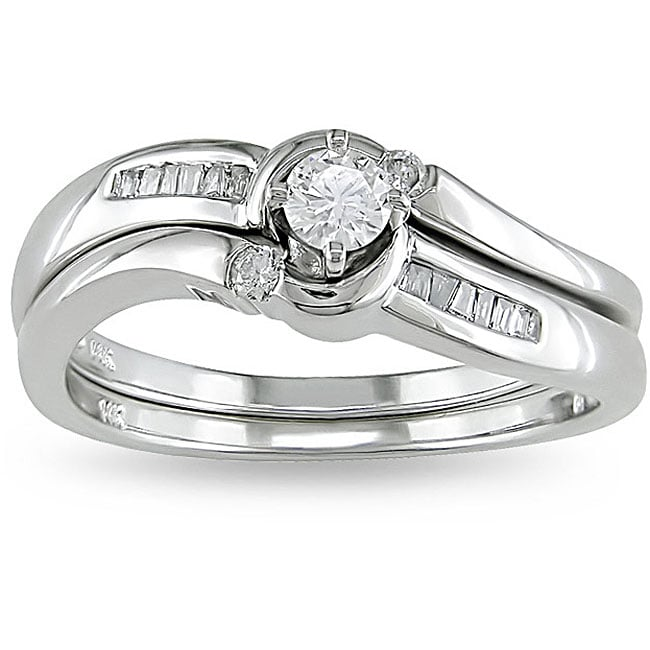 Miadora 14k White Gold 1/4ct TDW Diamond Bridal Ring Set (H-I, I2-I3)