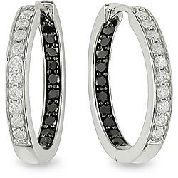 Miadora 14k White Gold 1/2ct TDW Black and White Diamond Hoop Earrings (H-I, I1-I2)