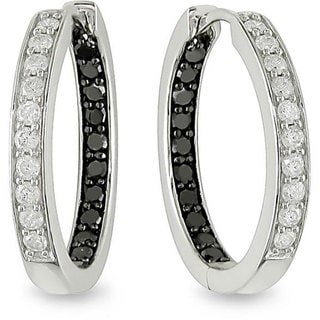 Miadora 14k White Gold 1/2ct TDW Black and White Diamond Hoop Earrings (H-I, I1-I2)