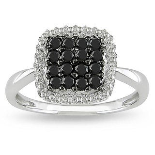 Miadora 10k White Gold 1/2ct TDW Black and White Diamond Halo Ring (H-I, I2-I3)