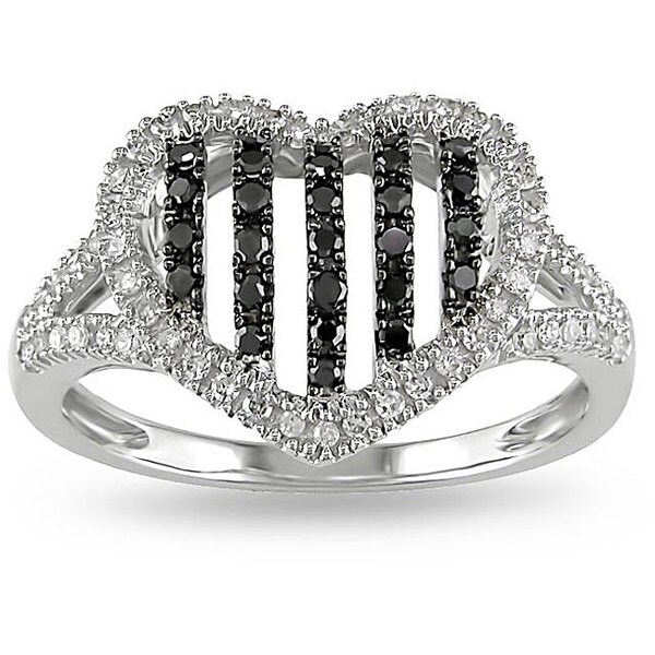 Miadora 10k Gold 1/3ct TDW Black and White Diamond Heart Ring (H-I, I2-I3)