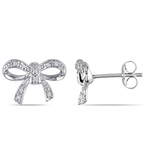 Haylee Jewels 10k White Gold Diamond Accent Bow Earrings