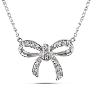 M by Miadora 10k White Gold Diamond Accent Bow Necklace