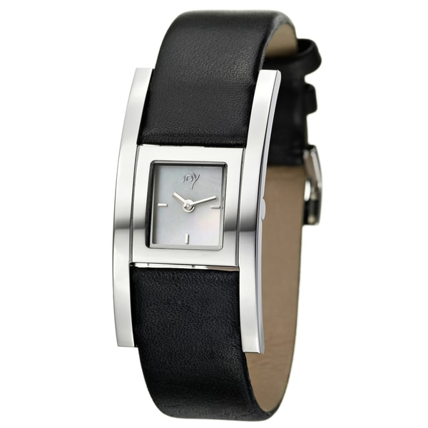 Joy Women's Cuadrods Black Leather Watch