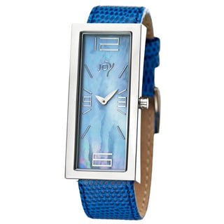 Joy Women's Rectangulares Blue Leather Strap Watch