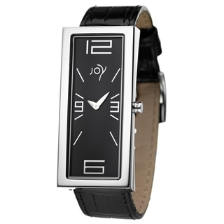 Joy Women's Rectangulares Black Leather Watch