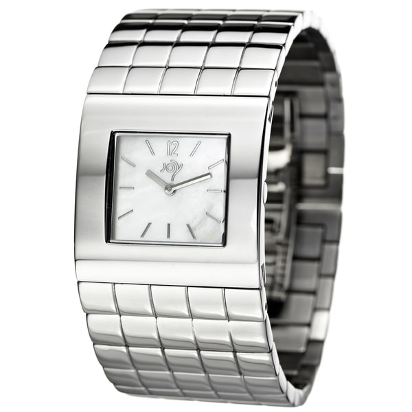 Joy Women's Cuadrods Stainless Steel Cuff Quartz Watch