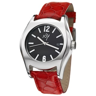 Joy Women's Redondos Red Leather Strap Watch
