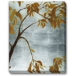 'Silver Etched Leaves' Gallery-wrapped Art