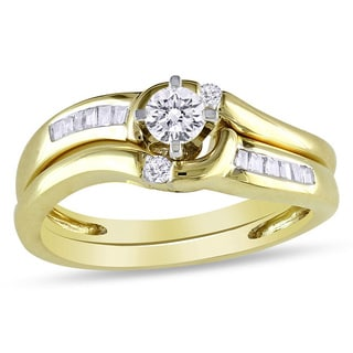 Miadora 14k Yellow Gold 1/4ct TDW Diamond Bridal Ring Set (H-I, I2-I3)