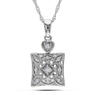 Haylee Jewels 10k White Gold 1/10ct TDW Diamond Fashion Necklace (H-I, I2-I3)