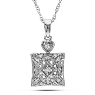 Haylee Jewels 10k White Gold 1/10ct TDW Diamond Fashion Necklace (H-I, I2-I3)