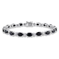 Miadora Silver Black Sapphire and Diamond Tennis Bracelet