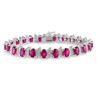 Miadora Silver Created Ruby and Diamond Accent Tennis Bracelet