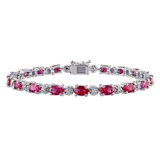 Miadora Sterling Silver Created Ruby and Diamond Accent Tennis Bracelet