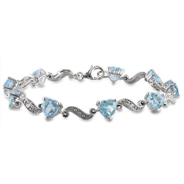 Miadora Sterling Silver Blue Topaz and Diamond Accent Bracelet