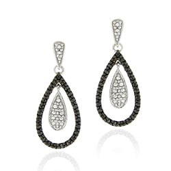 DB Designs Sterling Silver Black Diamond Accent Teardrop Dangle Earrings