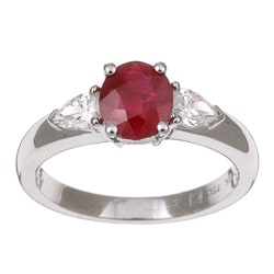 Kabella 18k White Gold Ruby and 1/2ct TDW Diamond Ring (H, SI)