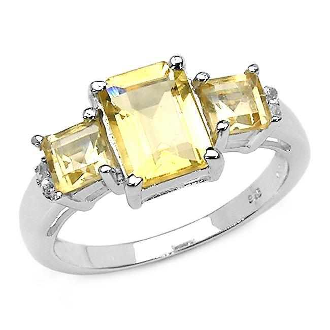 Malaika Sterling Silver Citrine and Diamond Accent 3-stone Ring