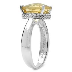 Malaika Sterling Silver Round-cut Citrine Bead Detail Ring